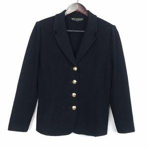 St John Knit Button Front Black Blazer Jacket 8